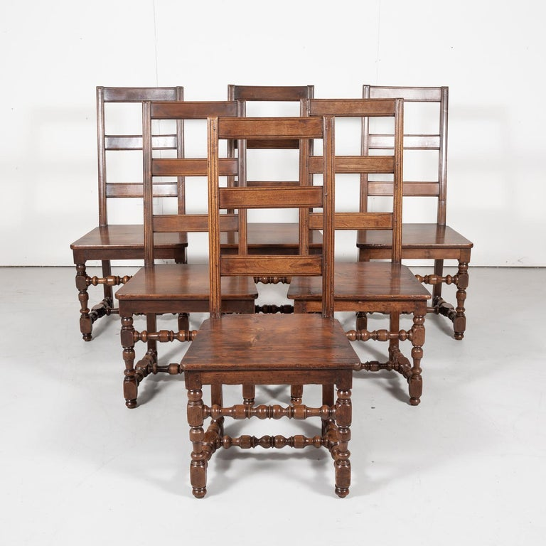 Late 19th Century Set of Six 19th Century French Louis XIV Style Ladder Back Dining Chairs For Sale