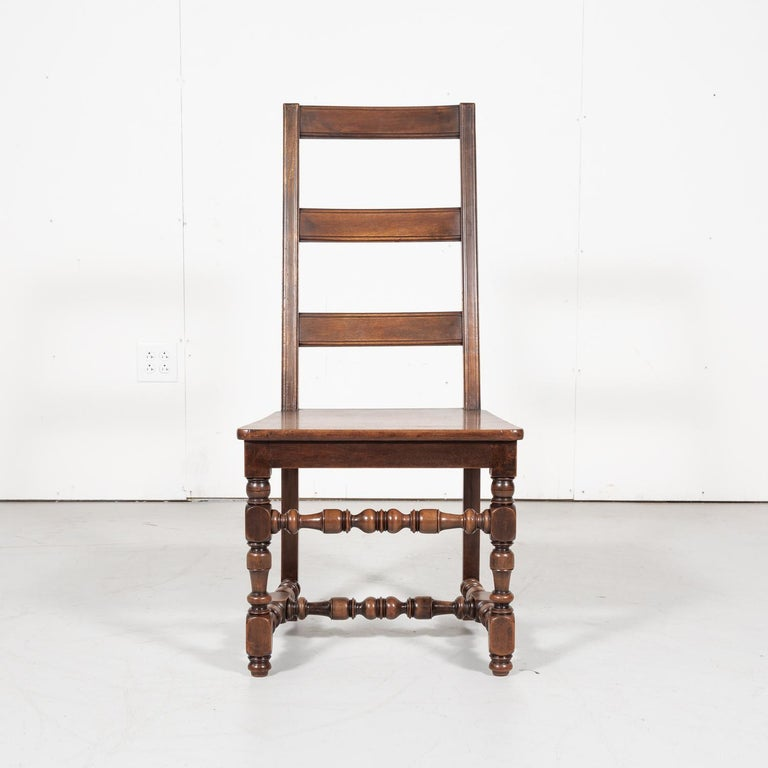 Set of Six 19th Century French Louis XIV Style Ladder Back Dining Chairs For Sale 3
