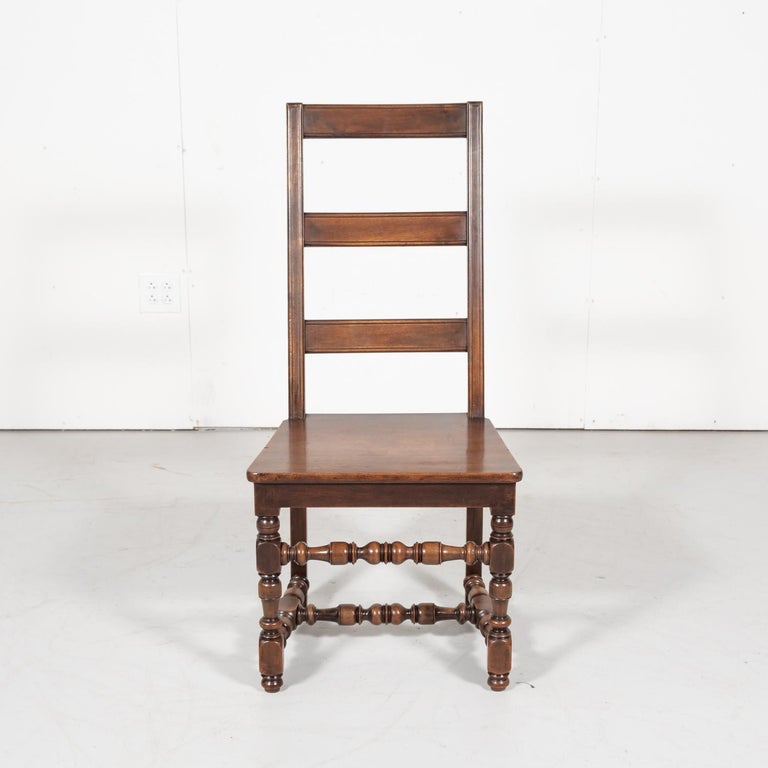 Set of Six 19th Century French Louis XIV Style Ladder Back Dining Chairs For Sale 4