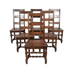 Set of Six 19th Century French Louis XIV Style Ladder Back Dining Chairs