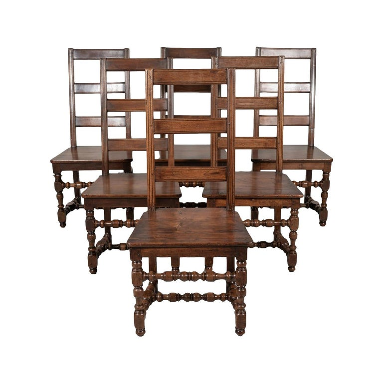 Set of Six 19th Century French Louis XIV Style Ladder Back Dining Chairs For Sale