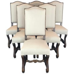 Set of Six 19th Century French Louis XIV Walnut and Upholstered Dining Chairs
