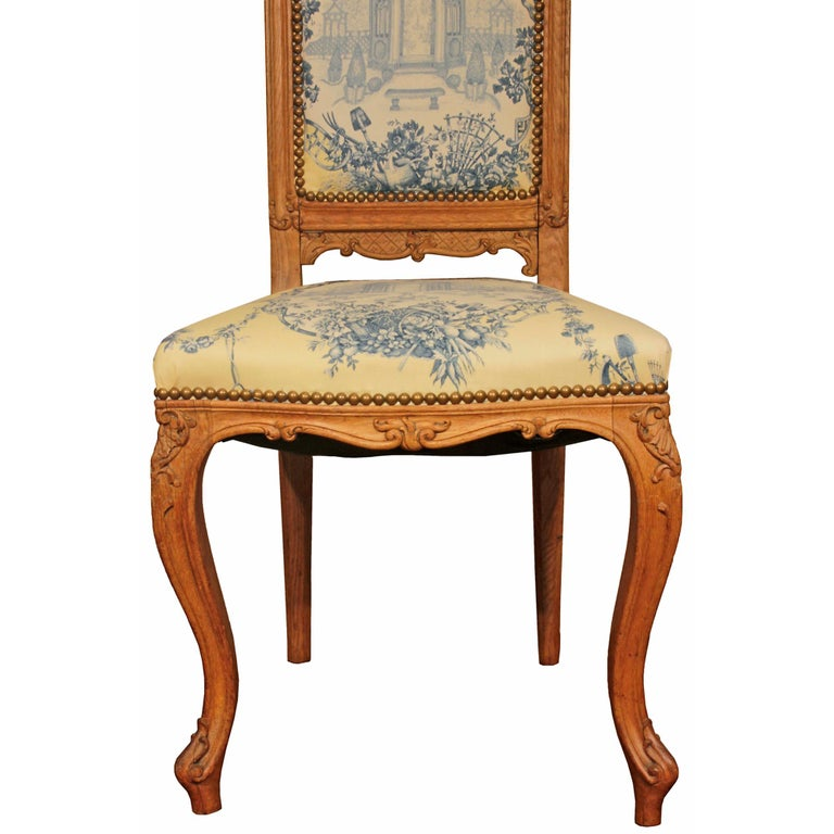 Set of Six 19th Century High Back French Louis XVI Style Carved Dining Chairs For Sale 1