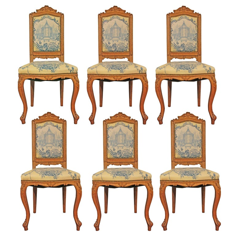 Set of Six 19th Century High Back French Louis XVI Style Carved Dining Chairs For Sale