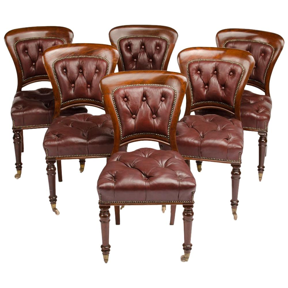 Set of Six 19th Century Irish Walnut and Leather Dining Chairs