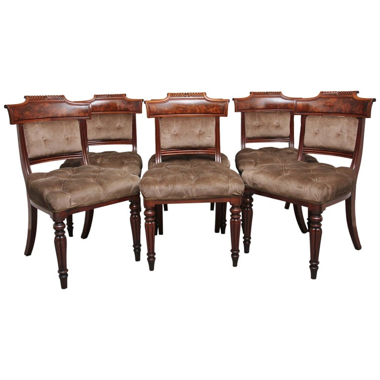 Set of Six 19th Century Mahogany Dining Chairs For Sale