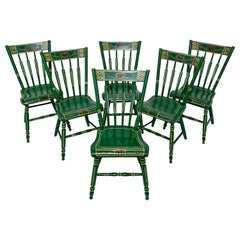 Set of Six 19th Century Pennsylvania Folk Art Painted Windsor Chairs