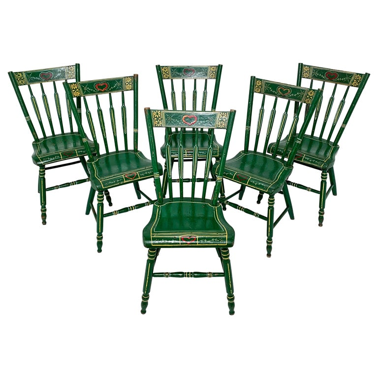Set of Six 19th Century Pennsylvania Folk Art Painted Windsor Chairs For Sale