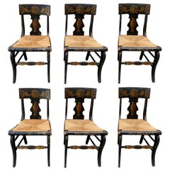Set of Six 19th Century Side Chairs in Black Paint with Gold Painted Detailing