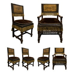 Set of Six 19th Century Spanish Embossed Leather Back Dining Chairs