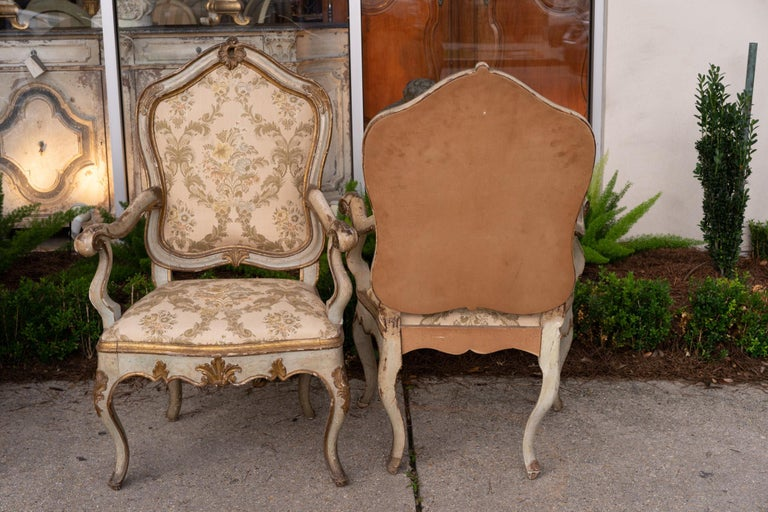 Beautiful set of painted Venetian armchairs painted, gilded and carved with original finishes.