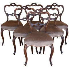 Set of Six 19th Century Victorian Rosewood Dining Chairs