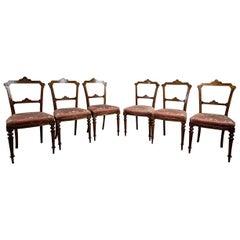 Set of Six 19th Century Walnut Chairs