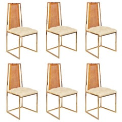 Set of Six 20th Century Brass and Beechwood Dining Chairs by Milo Baughman