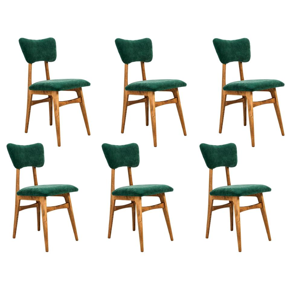 Set of Six 20th Century Dark Green Velvet Chairs, 1960s