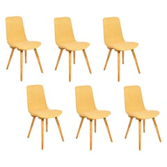 Set of Six 20th Century Fameg Yellow Vintage Chairs, 1960s, Poland