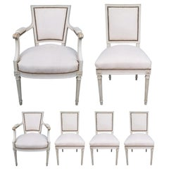 Set of Six 20th Century French Dining Chairs, Two Arms, Four Sides