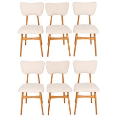 Set of Six 20th Century Light Crème Boucle Chairs, 1960s