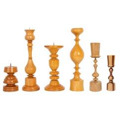 Set of Six 20th Century Wood Candlesticks, 1960s