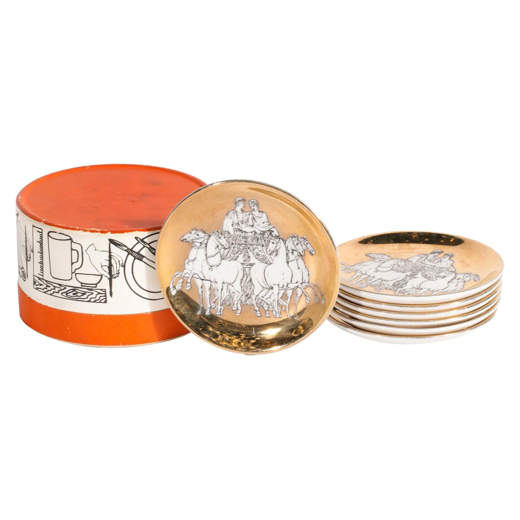 Set of Six 24kt Gold Plated Roman Themed Coasters Signed by Piero Fornasetti
