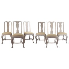 Set of Six '6' Antique Gustavian Style Limed Oak Dining Chairs