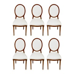 Set of Six '6' Belgian Art Deco Dining Chairs in Walnut with Upholstery