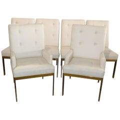 Set of Six 6 Brass Plated Milo Baughman Style Mid-Century Modern Dining Chairs