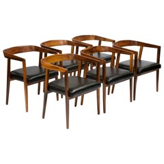 Set of Six '6' Chairs in Jacaranda Designed by Joaquim Tenreiro