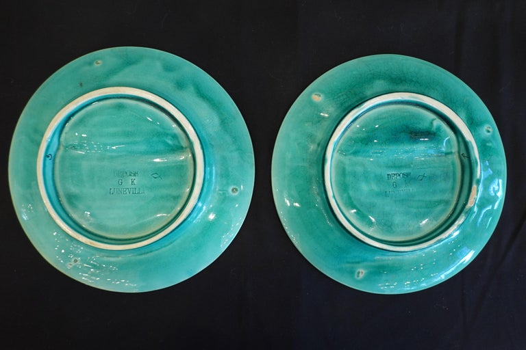 Set of Six '6' French Faience Asparagus Plates by Luneville For Sale 4