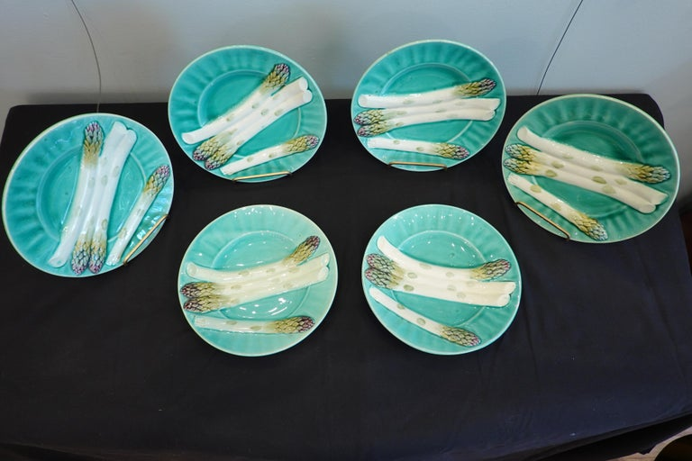 Set of Six '6' French Faience Asparagus Plates by Luneville For Sale 5