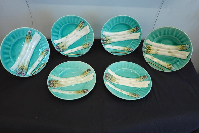 Set of Six '6' French Faience Asparagus Plates by Luneville For Sale 6