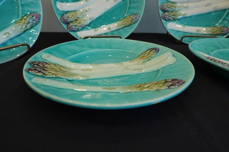 Set of Six '6' French Faience Asparagus Plates by Luneville For Sale 7