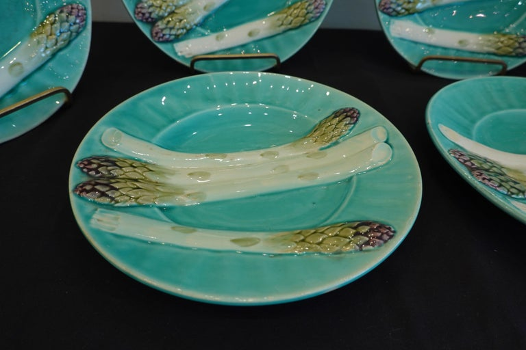 Set of Six '6' French Faience Asparagus Plates by Luneville For Sale 8