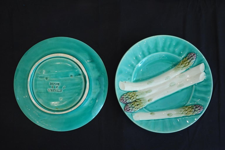 Set of Six '6' French Faience Asparagus Plates by Luneville For Sale 10