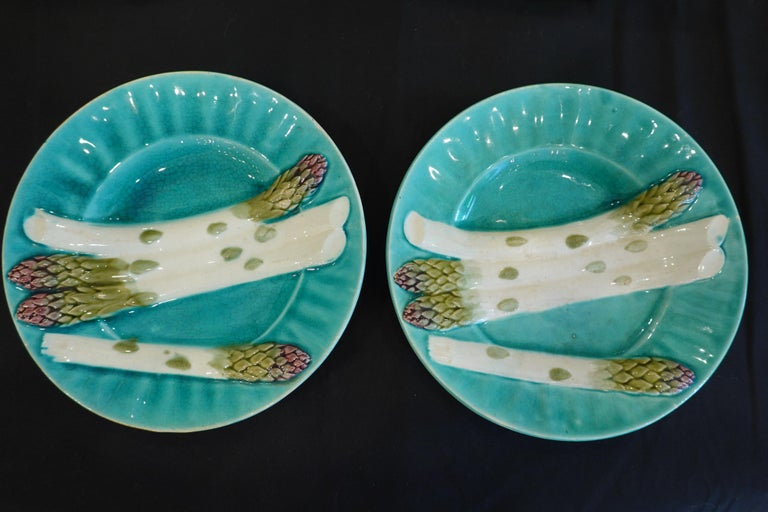 19th Century Set of Six '6' French Faience Asparagus Plates by Luneville For Sale