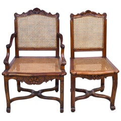 Set of Six '6' French Louis XIV Style Dining Chairs with Caned Back and Seat