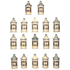 Set of Six '6' French Porcelain Apothecary Jars with Painted Decoration and Mark