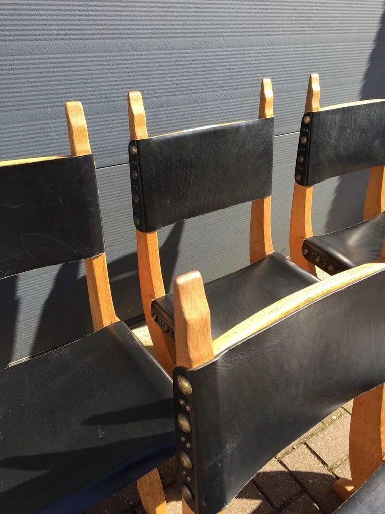 Blackened Set of Six Midcentury Era Handcrafted Solid Oak and Black Leather Chairs For Sale
