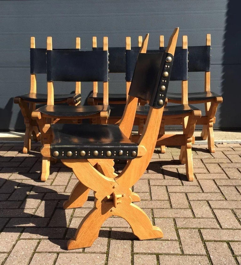 19th Century Set of Six Midcentury Era Handcrafted Solid Oak and Black Leather Chairs For Sale