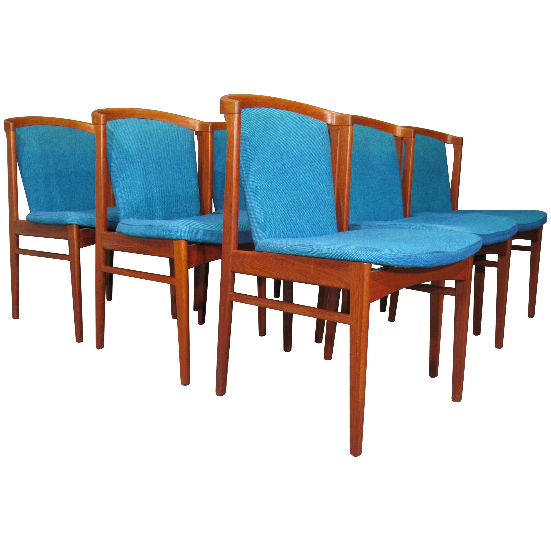 Set of Six '6' Rare Midcentury, Danish Modern Teak Dining Chairs by Erik Buck