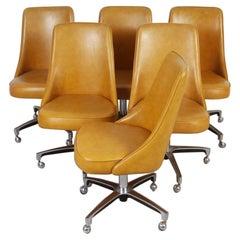 Set of Six 60s Era Chromcraft Chairs on Castors