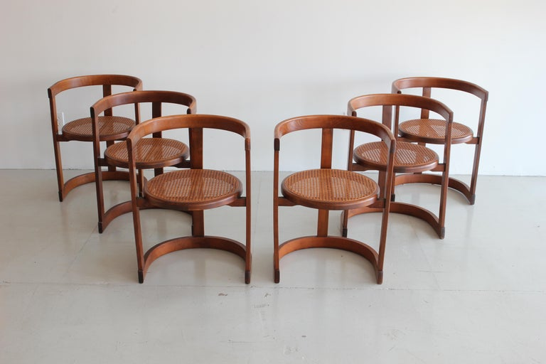 Set of six pen tub chairs produced by A.G. of Barcelona,   circa 1950s, Spain. Oak has wonderful patina and newly caned seats.