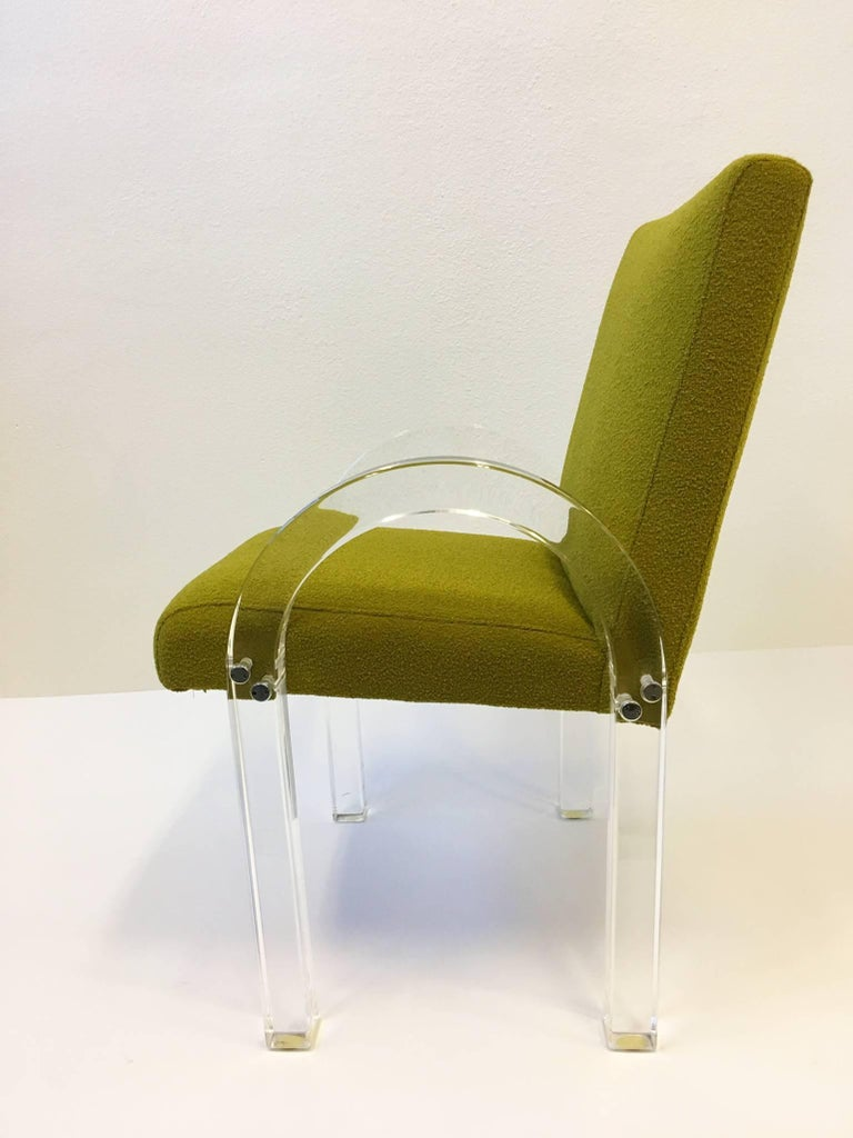 Set Of Six Acrylic Waterfall Dining Chairs By Charles