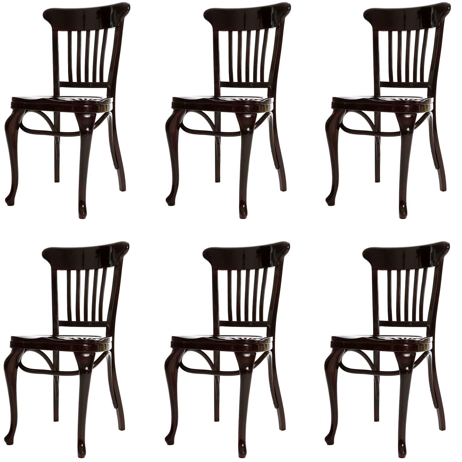 Set of Six Adolf Loos Chairs Cafe Capua Vienna, Austria, Thonet, 1913