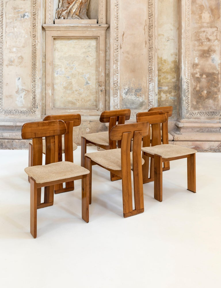 Stunning set of six Afra and Tobia Scarpa chairs for Maxalto. Fabric seat.