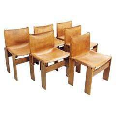 Set of Six Afra & Tobia Scarpa 'Monk' Chairs Molteni, Italy, 1974