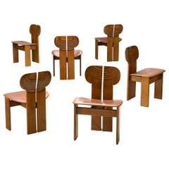 Set of Six 'Africa' Chairs by Afra & Tobia Scarpa with Cognac Leather