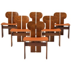 Set of Six 'Africa' Chairs in Walnut by Afra & Tobia Scarpa