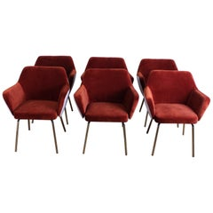"Set of Six ""Airone"" Armchairs by Alberto Roselli for Arflex"