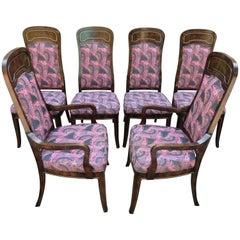 Set of Six Amboyna and Brass Mastercraft Dining Chairs Mid-Century Modern